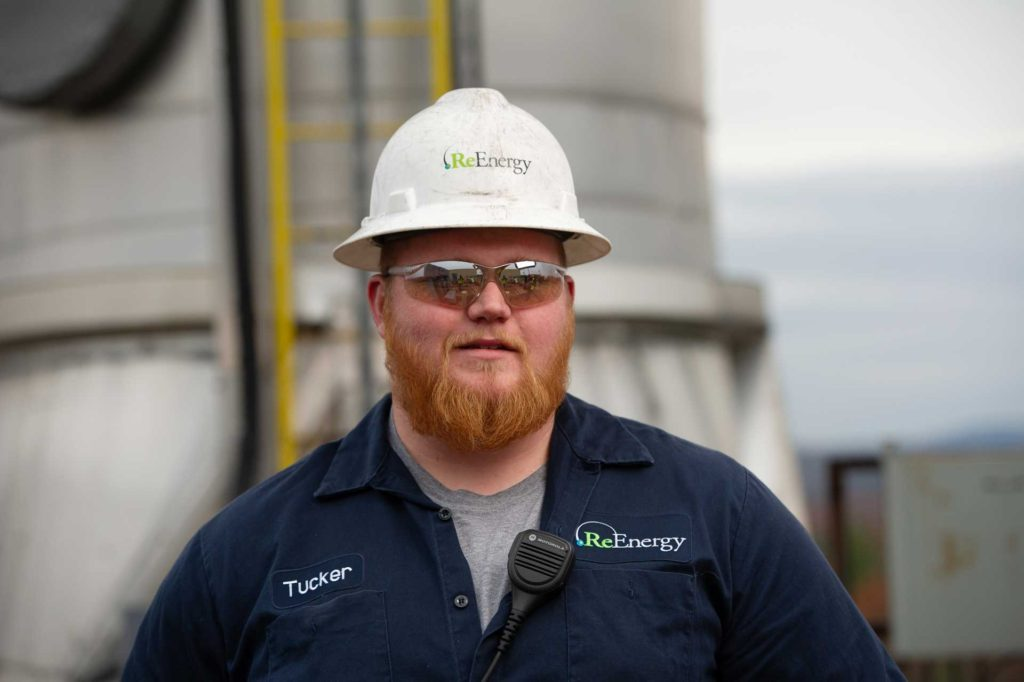 ReEnergy Livermore Falls Employee with Hard Hat