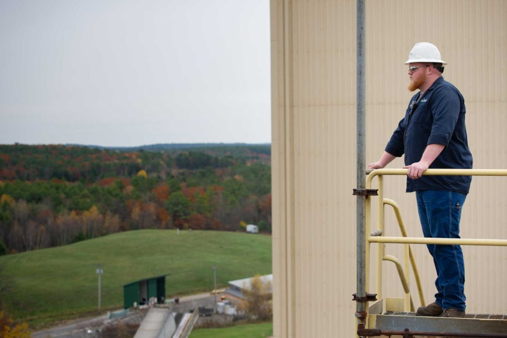 Employee Overlooking Operations at ReEnergy Livermore Falls